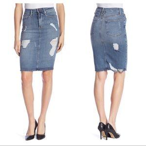 NEW Good American high waist denim pencil skirt